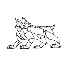Lynx prowling black and white mosaic vector