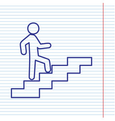 man on stairs going up navy line icon on vector image vector image