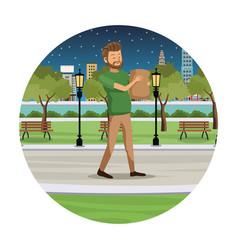 Man shopping bag walk park view night vector