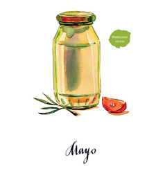 Mayonnaise in glass jar with green lid vector