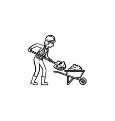 mining worker hand drawn outline doodle icon vector image
