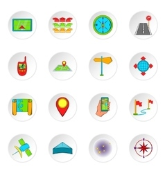 Navigation icons cartoon style vector