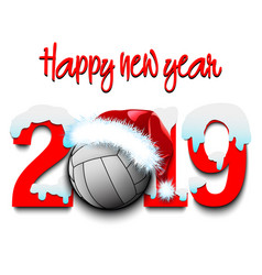 New year numbers 2019 and volleyball ball vector