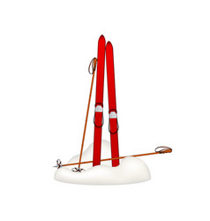 old wooden skis and old ski poles standing in snow vector image