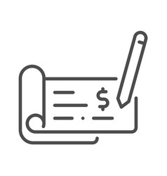 Outline cheque vector
