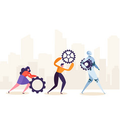 people and robot working together human characters vector image