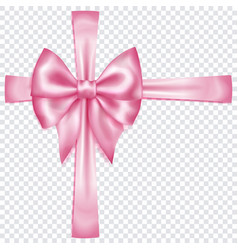 pink bow with crosswise ribbons vector image