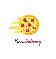 Pizza delivery logo isolated on white vector