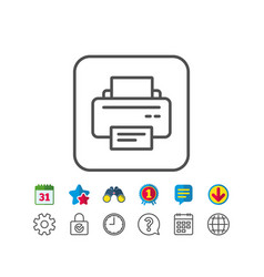 Printer icon printout device sign vector