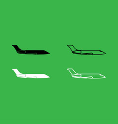 private airplane icon black and white color set vector image
