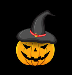 pumpkin with witch hat on head on black background vector image