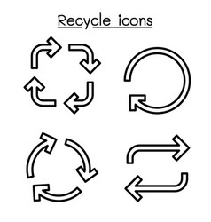 recycle arrow icon set in thin line style vector image