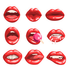 Red glossy lips set girls mouth with red lipstick vector