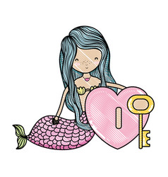 scribbled siren woman and heart with key style vector image