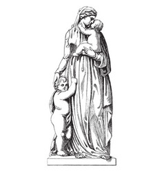 Sculpture is entitled charity vintage engraving vector