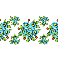 seamless color flowers brush vector image