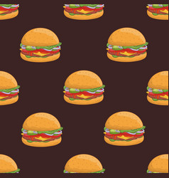 seamless pattern with appetizing hamburgers on vector image