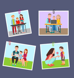 set colorful banners with parents and children vector image