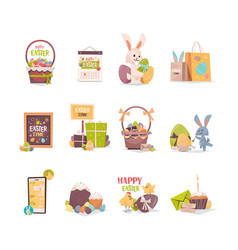 set decorated egg and different easter elements vector image