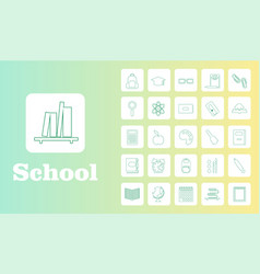 Set line icons in flat design education school vector