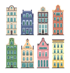 Set of 8 amsterdam old houses cartoon facades vector
