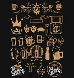 set of design elements for beer labels beer mugs vector image