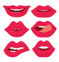 set of female lips on a white background various vector image