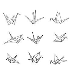 Set of hand drawn doodle crane birds vector image