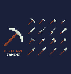 Set of pixel art tools icons axe pick vector