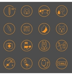 Set of simple vet icons vector