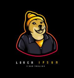 shiba inu mascot vector image