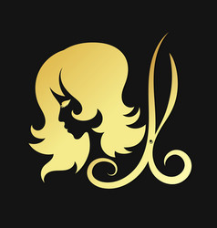 Silhouettes of girls and scissors of gold color vector