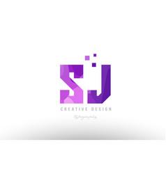 Sj s j pink alphabet letter logo combination with vector