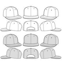 Snapback cap fashion flat sketch template vector
