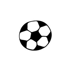 soccer ball icon in doodle style isolated on vector image
