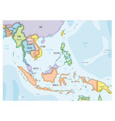 Southeast asia map - hand-drawn cartoon style vector