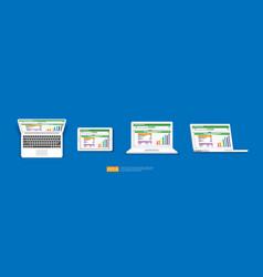 Spreadsheet on laptop tablet screen icon vector