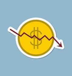 Stock crisis with dollar coin vector