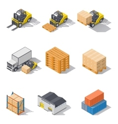 Storage equipment isometric icons set vector image