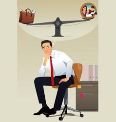 stressed businessman choosing between career and vector image