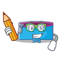 Student pencil case character cartoon vector