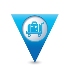 Suitcase on wheelbarrow icon map pointer blue vector