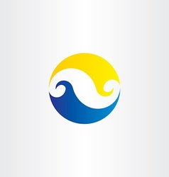 Summer water wave sun circle logo icon sign vector