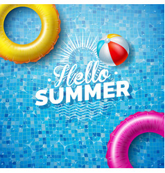 Summer with float on water vector