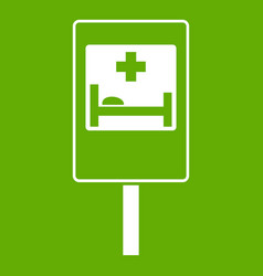 symbol of hospital road sign icon green vector image