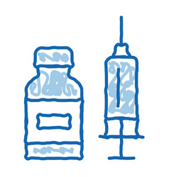 Syringe with medicine doodle icon hand drawn vector