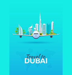 Travel to dubai airplane with attractions travel vector
