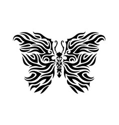 Tribal tattoo art with black stylized butterfly vector