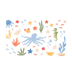 underwater life with cute animal characters such vector image