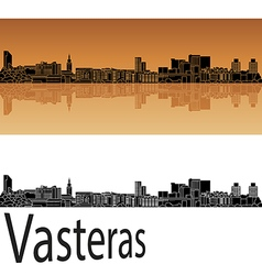 Vasteras skyline in orange vector image